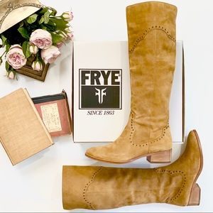 Frye Ray Grommet Tall Camel Suede